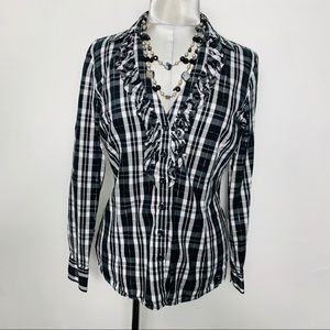 NEW YORK & COMPANY plaid blouse with ruffles